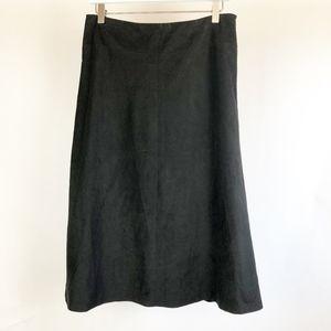 Sigrid Olsen Sz 8 Petite 8P Black faux suede Skirt